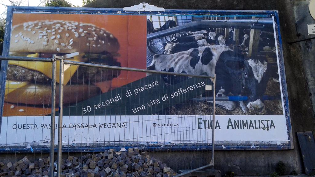 20150328 164654 - TRENTO - AFFISSIONE MANIFESTI 6 X 3 SUL TEMA DEL VEGANISMO dal 23 marzo al 6 aprile 2015. Via Giusti, Piazzetta da Vinci, Viale Degasperi