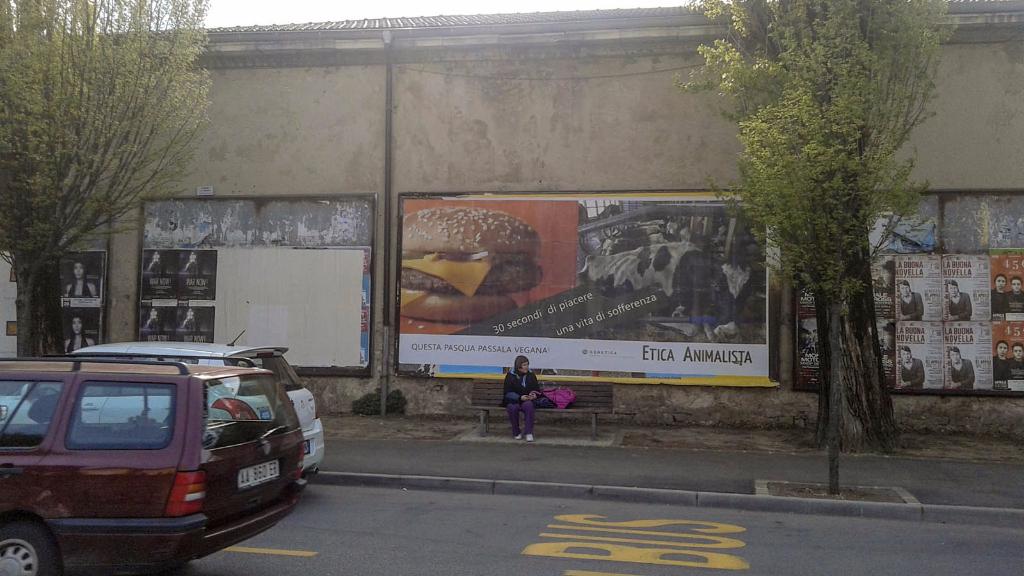 20150410 163838 - TRENTO - AFFISSIONE MANIFESTI 6 X 3 SUL TEMA DEL VEGANISMO dal 23 marzo al 6 aprile 2015. Via Giusti, Piazzetta da Vinci, Viale Degasperi