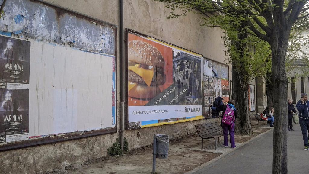 20150410 163914 - TRENTO - AFFISSIONE MANIFESTI 6 X 3 SUL TEMA DEL VEGANISMO dal 23 marzo al 6 aprile 2015. Via Giusti, Piazzetta da Vinci, Viale Degasperi