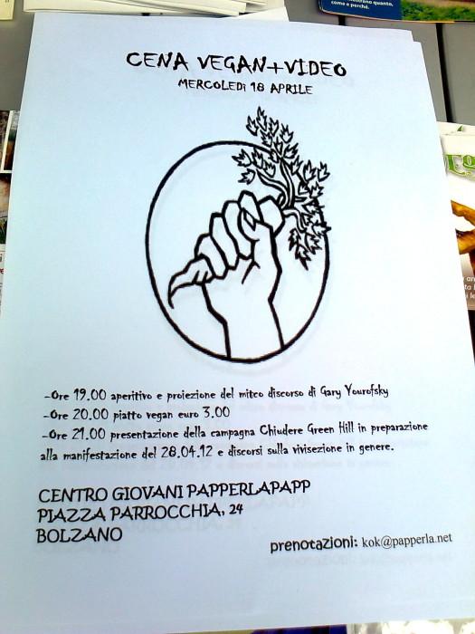 bolzano 14042012   tavolo informativo su caccia e alimentazione vegana 20120415 1357176012 - 14.04.2012 - BOLZANO - TAVOLO INFORMATIVO CONTRO LA CACCIA E SULL'ALIMENTAZIONE VEGANA - 2012-