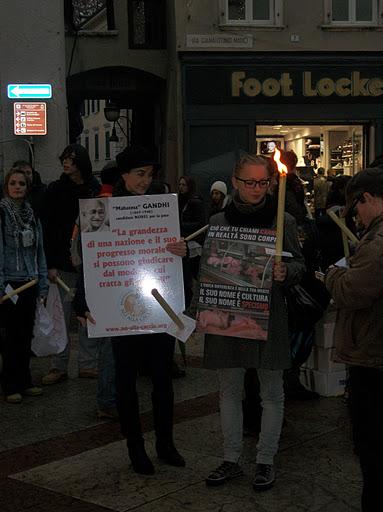 fiaccolata per gli animali 20111210 1500485717 - 03 dicembre 2011 Trento fiaccolata per denunciare lo sterminio degli animali nel periodo natalizio (e non solo!)