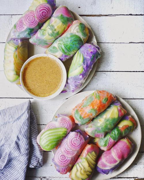 tumblr o36fxksHSi1s7e3heo1 500 1 - letscookvegan:Psychedelic Salad Rolls by @erinireland...