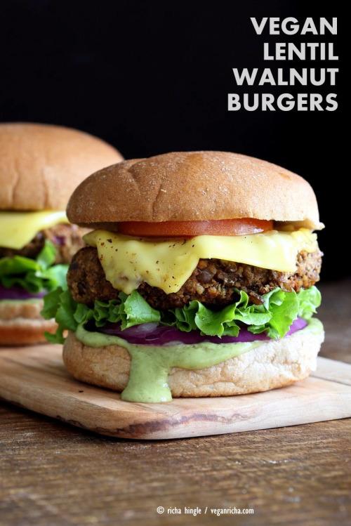 tumblr o3w70qjy6O1tm0py9o1 500 1 - circle-v:  Lentil Walnut Burgers