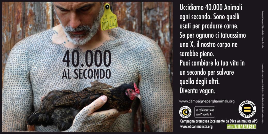 40000 al secondo 6x3 2017 1 1 1038x519 - 40.000 al secondo, sono gli animali che uccidiamo per l'alimentazione. Campagna pro veganismo - immagini, 2020-