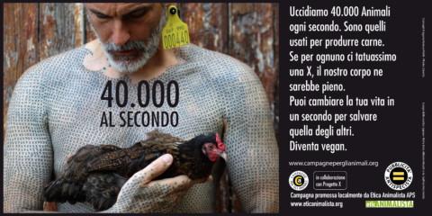 40000 al secondo 6x3 2017 1 1 480x240 - 40.000 al secondo, sono gli animali che uccidiamo per l'alimentazione. Campagna pro veganismo - immagini, 2020-